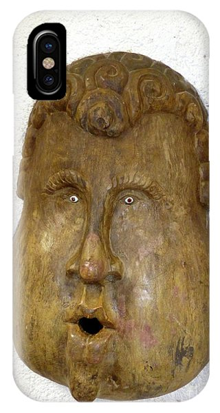 IPhone Case featuring the photograph Wood Carved Face by Francesca Mackenney