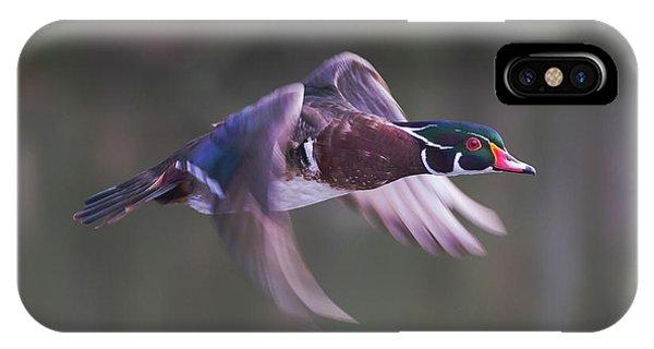 Wood Duck Flight IPhone Case