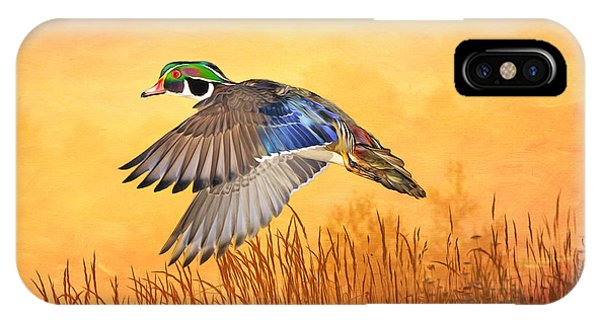 Wood Ducks iPhone Case - Wood Duck In Flight by Laura D Young