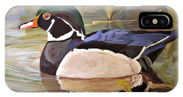 Wood Duck On Pond IPhone Case