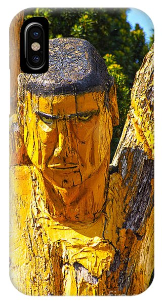 Wood Sculpture In A Garden IPhone Case