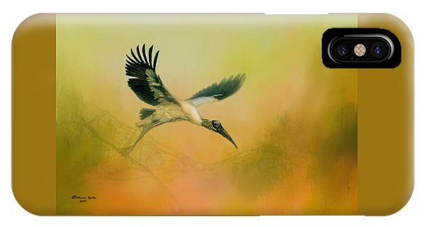 Stork iPhone Case - Wood Stork Encounter by Marvin Spates