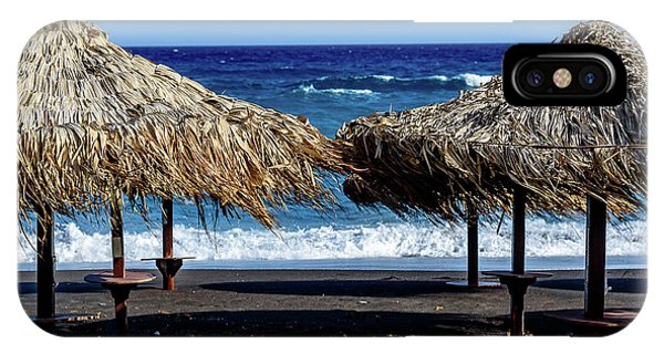 Wood Thatch Umbrellas On Black Sand Beach, Perissa Beach, In Santorini, Greece IPhone Case