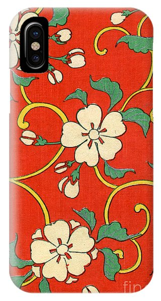 Yellow Flowers iPhone Case - Woodblock Print Of Apple Blossoms by Japanese School