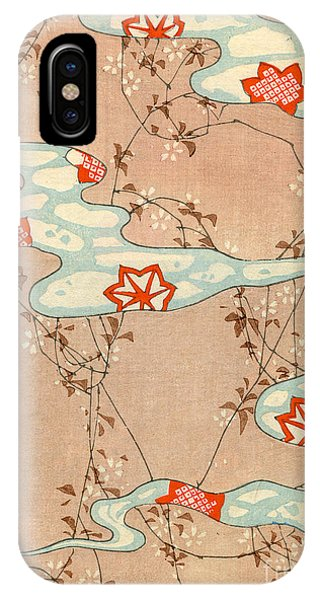 Fall iPhone Case - Woodblock Print Of Fall Leaves by Japanese School