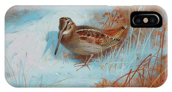Woodcock iPhone Case - A Woodcock In The Snow by Archibald Thorburn
