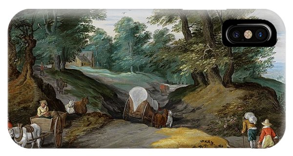 Wooded Landscape With Horses Carts And To The Market Attracting Farmers IPhone Case