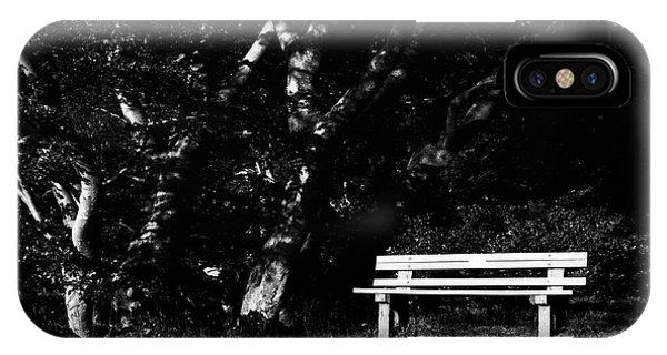 Wooden Bench In B/w IPhone Case