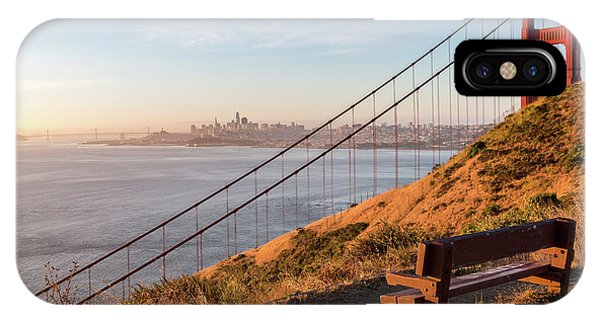Wooden Bench Overlooking Downtown San Francisco With The Golden  IPhone Case