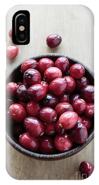 Wooden Bowl Of Ripe Red Cranberries IPhone Case