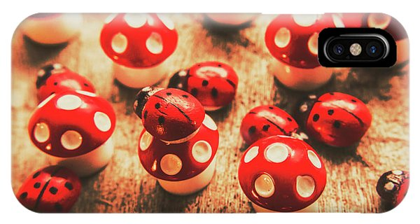 Nature Still Life iPhone Case - Wooden Bugs And Plastic Toadstools by Jorgo Photography - Wall Art Gallery