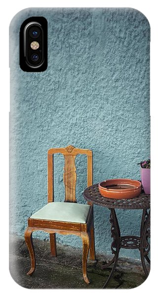 Ironwork iPhone Case - Wooden Chair And Iron Table by Carlos Caetano