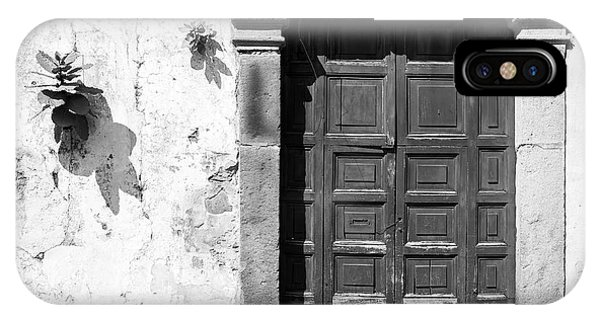IPhone Case featuring the photograph Wooden Door Antigua Guatemala Black And White by Tim Hester