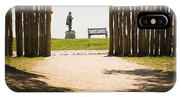 Wooden Fence And Statue Of John Smith Phone Case by Roberto Westbrook
