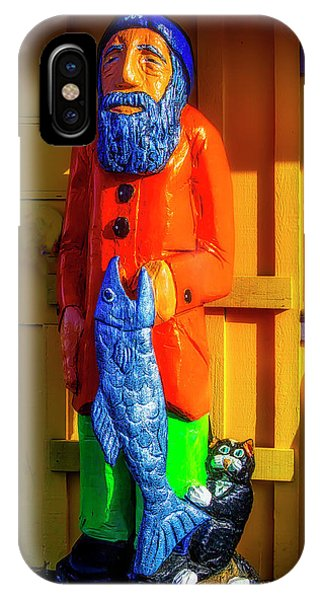 Wood Carving iPhone Case - Wooden Fisherman by Garry Gay
