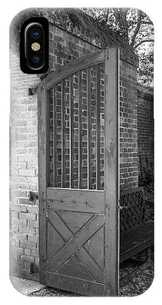 Wooden Garden Door B W IPhone Case