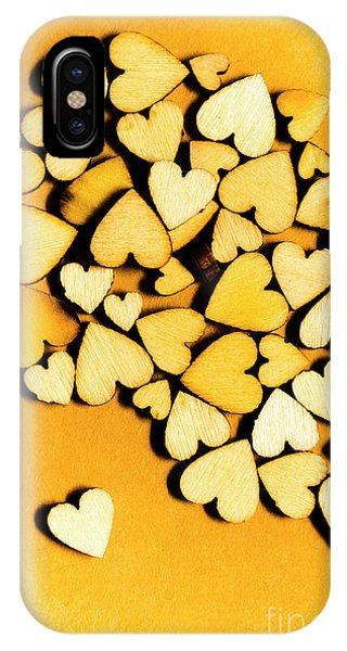 Connections iPhone Case - Wooden Hearts With Sentimental Single by Jorgo Photography - Wall Art Gallery