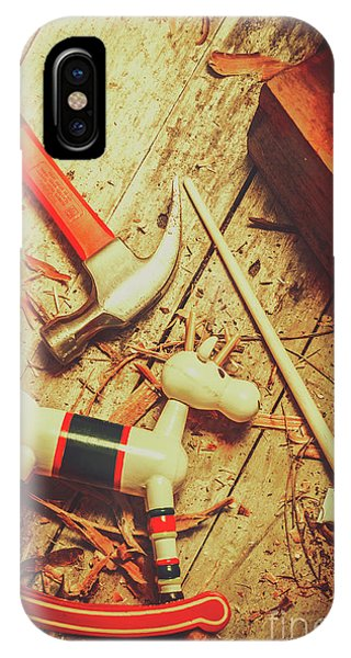 Wooden Model Toy Reindeer. Christmas Craft IPhone Case