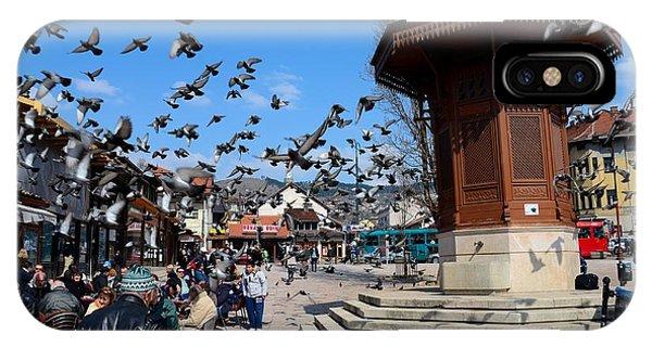 Wooden Ottoman Sebilj Water Fountain In Sarajevo Bascarsija Bosnia IPhone Case