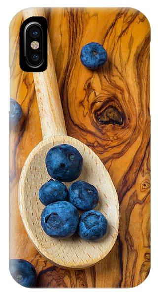 Blue Berry iPhone Case - Wooden Spoon And Blueberries by Garry Gay