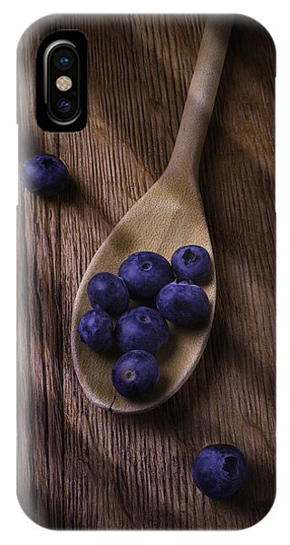 Blue Berry iPhone Case - Wooden Spoon With Blueberries by Garry Gay