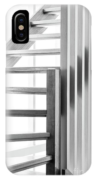 IPhone Case featuring the photograph Wooden Staircase Black And White by Tim Hester