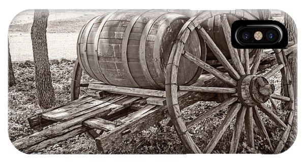 Wooden Wine Barrels On Cart IPhone Case