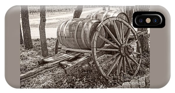 Wooden Wine Barrels On Cart IPhone Case