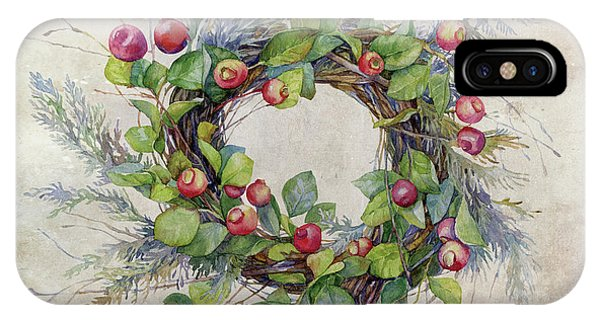 Christmas iPhone Case - Woodland Berry Wreath by Colleen Taylor