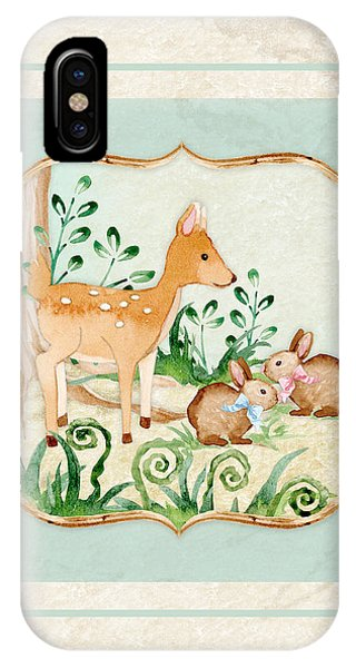 Deer iPhone Case - Woodland Fairy Tale - Deer Fawn Baby Bunny Rabbits In Forest by Audrey Jeanne Roberts