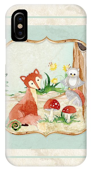 Woodland Fairy Tale - Fox Owl Mushroom Forest IPhone Case