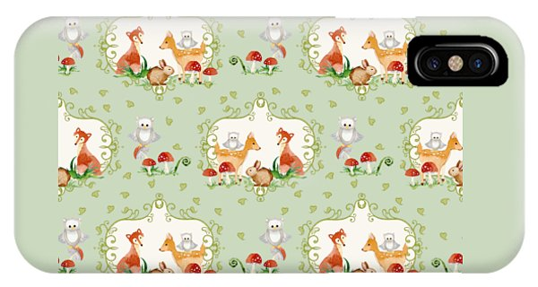 Repeat iPhone Case - Woodland Fairy Tale - Mint Green Sweet Animals Fox Deer Rabbit Owl - Half Drop Repeat by Audrey Jeanne Roberts