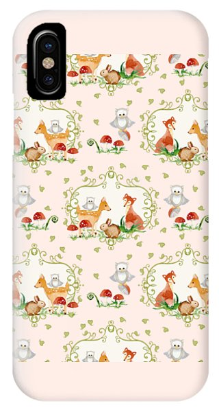 Repeat iPhone Case - Woodland Fairy Tale - Pink Sweet Animals Fox Deer Rabbit Owl - Half Drop Repeat by Audrey Jeanne Roberts