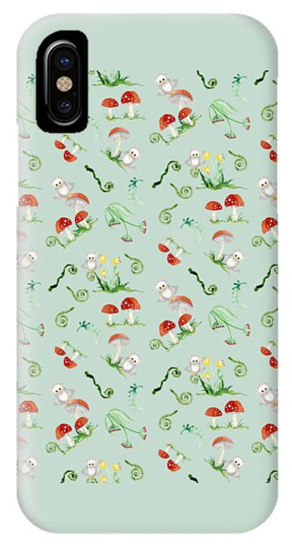 Repeat iPhone Case - Woodland Fairy Tale - Red Mushrooms N Owls by Audrey Jeanne Roberts