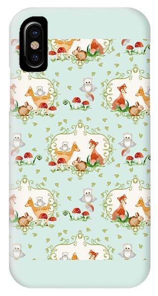 Repeat iPhone Case - Woodland Fairy Tale - Sweet Animals Fox Deer Rabbit Owl - Half Drop Repeat by Audrey Jeanne Roberts