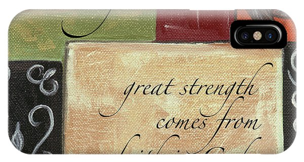 Interior Design Art iPhone Case - Words To Live By Strength by Debbie DeWitt
