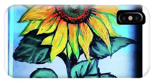 Impressionism iPhone Case - Working On This Sunflower. #sunflower by Genevieve Esson