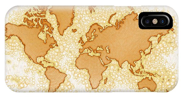 World Map Airy You Are Here In Brown And White  IPhone Case