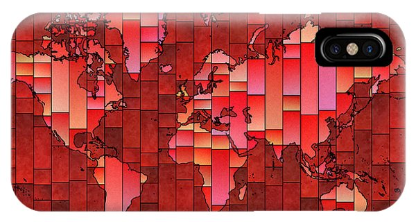 World Map Glasa Red IPhone Case