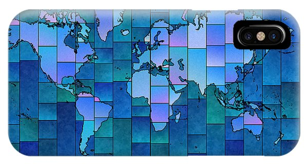 World Map Glasa You Are Here In Blue IPhone Case