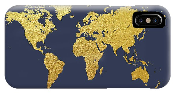 Planet iPhone Case - World Map Gold Foil by Michael Tompsett