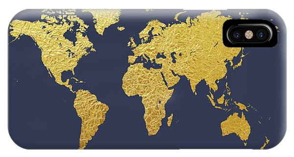 Map iPhone Case - World Map Gold Foil by Michael Tompsett