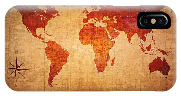 Old World iPhone Case - World Map Grunge Style by Johan Swanepoel