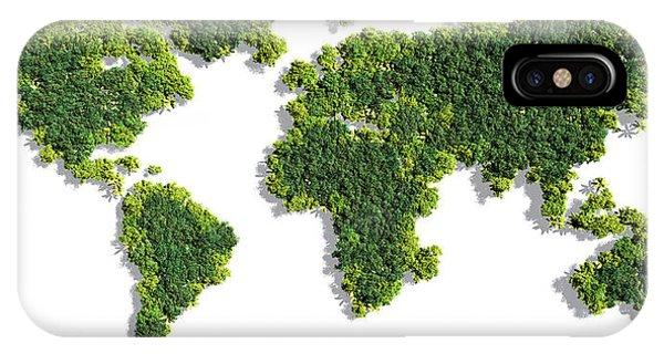 World Map Made Of Green Trees IPhone Case