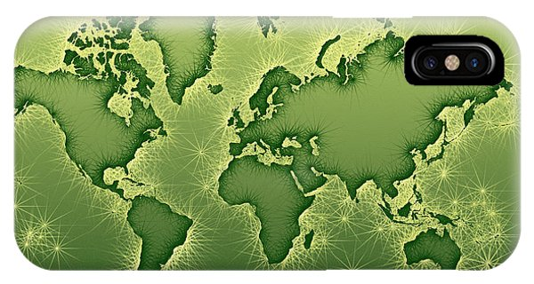 World Map Opala In Green And Yellow IPhone Case