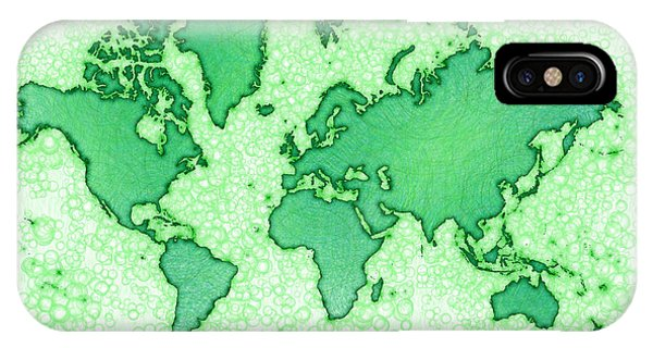 World Map You Are Here Airy In Green And White IPhone Case
