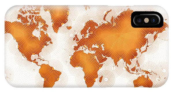 World Map Zona In Orange And White IPhone Case