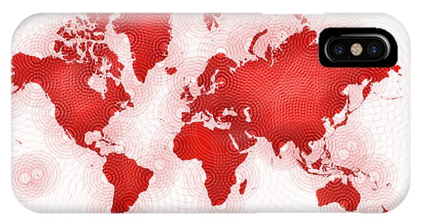 World Map Zona You Are Here In Red And White IPhone Case