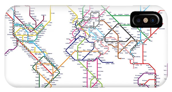 Global iPhone Case - World Metro Tube Map by Michael Tompsett