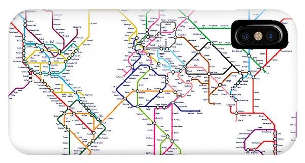 Map iPhone Case - World Metro Tube Map by Michael Tompsett